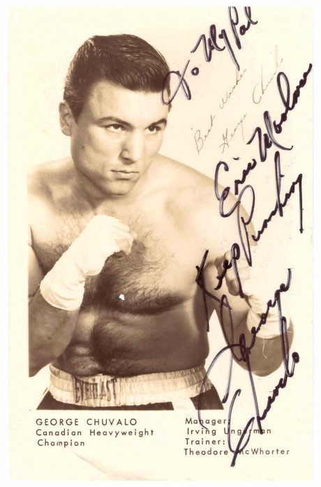 George Chuvalo post card George fought Muhammad Ali 1972