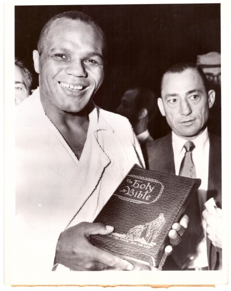 Jersey Joe Walcott presented with a bible