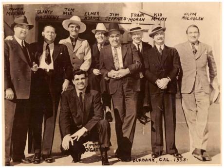 Jim Jeferies (centre) Frank Moran, Kid McCoy, Victor McGlaglen 1938