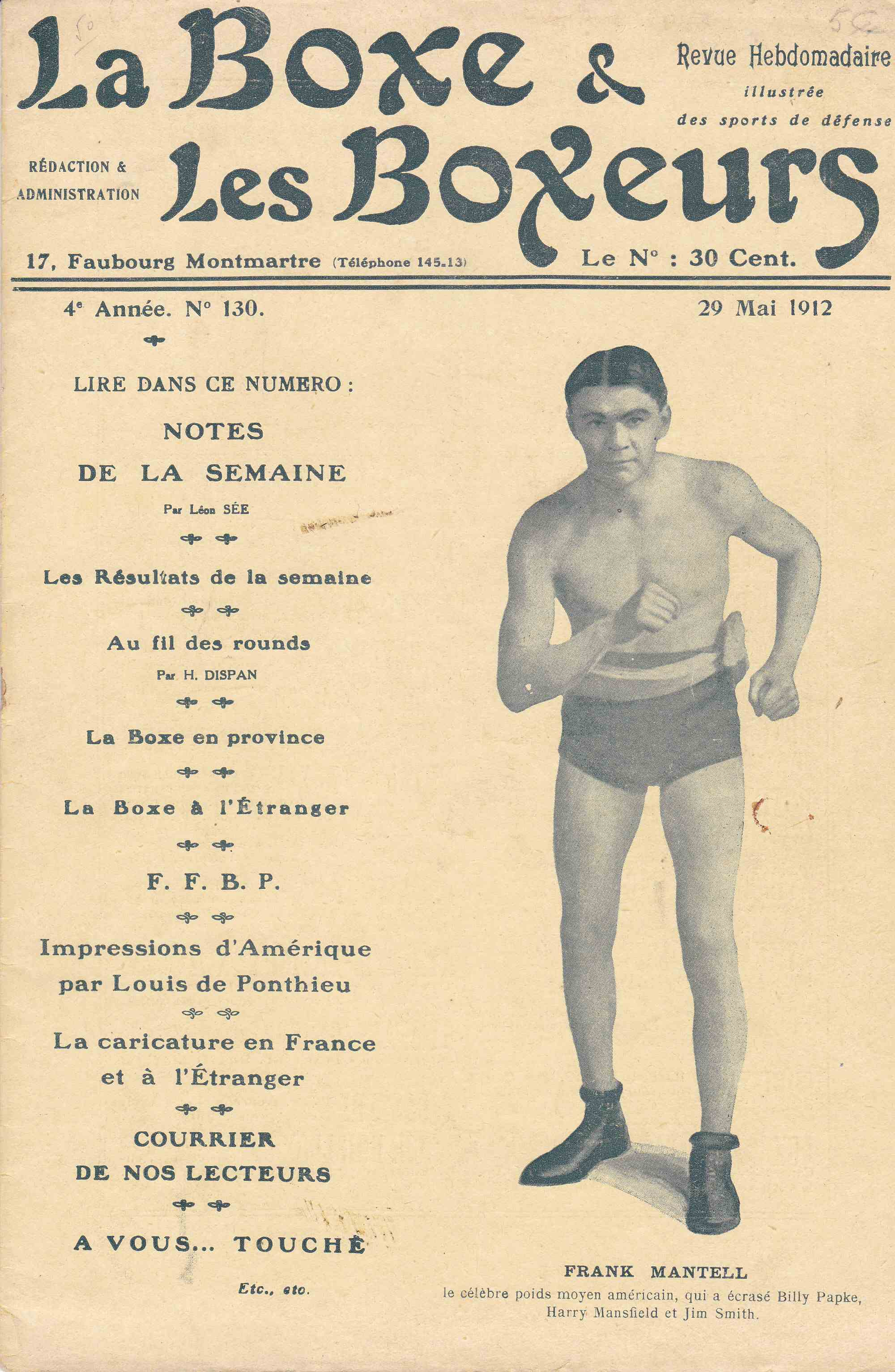 La Boxe & les Boxeurs 29 May 1912 - African Ring