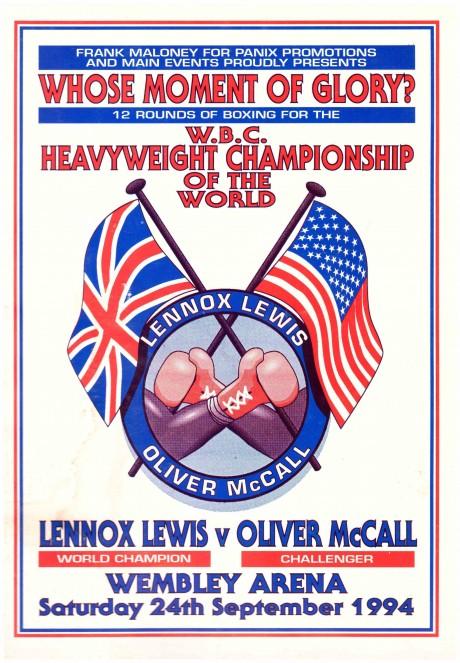 Lennox Lewis vs Oliver McCall press kit 24th September 1994