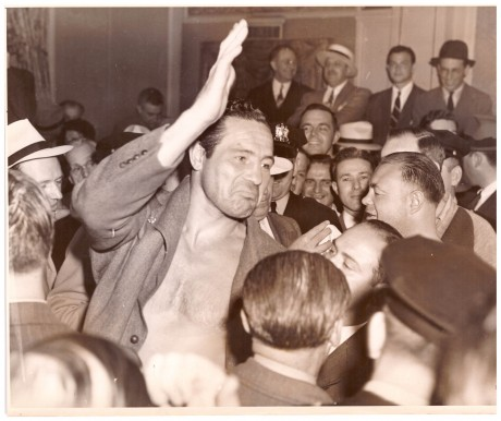 Max Baer after beating Tony Galento wire photo