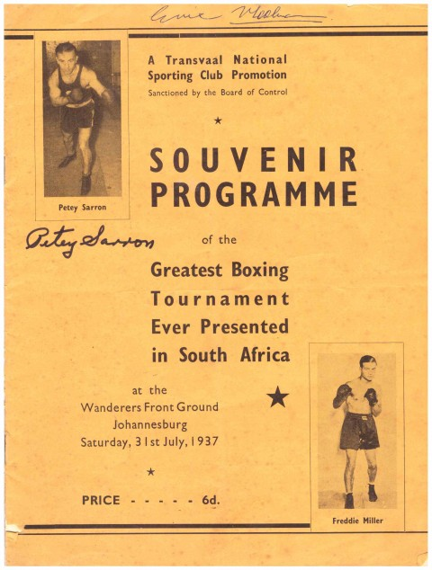 Petey Sarron 10 round bout with Freddie Miller in SA - African Ring