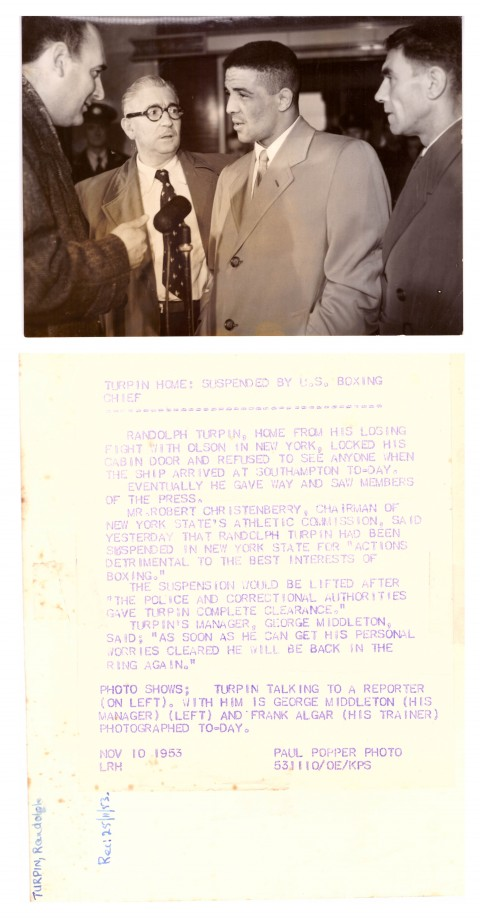 Randolph Turpin, George Hamilton and trainer Fran Algar - African Ring