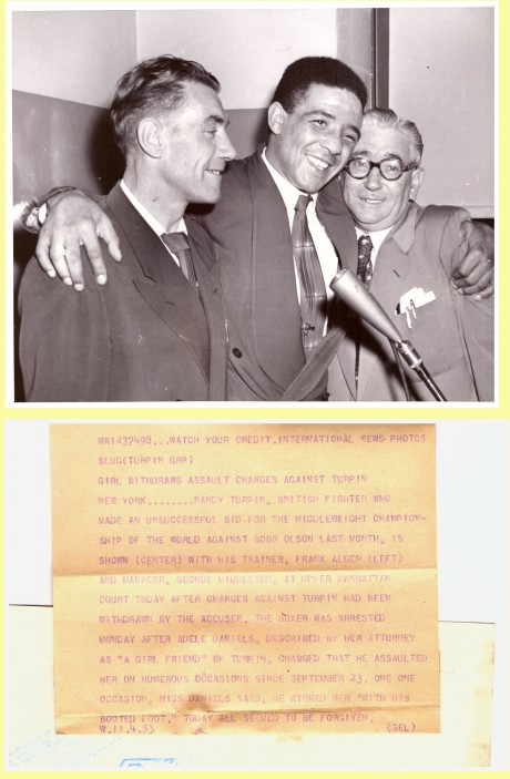 Randy Turpin with trainer Frank Alger (L) and manager George Middleton (R) front and back