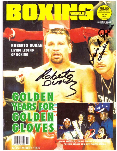 Roberto Duran and trainer signature - African Ring