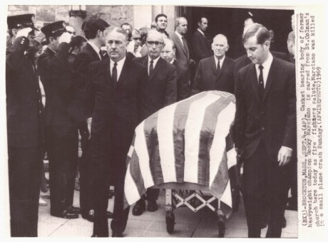 Rocky Marciano's funeral wire photo 1969