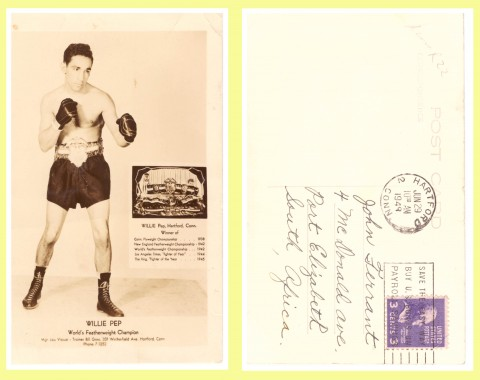 Willie Pep post card - African Ring