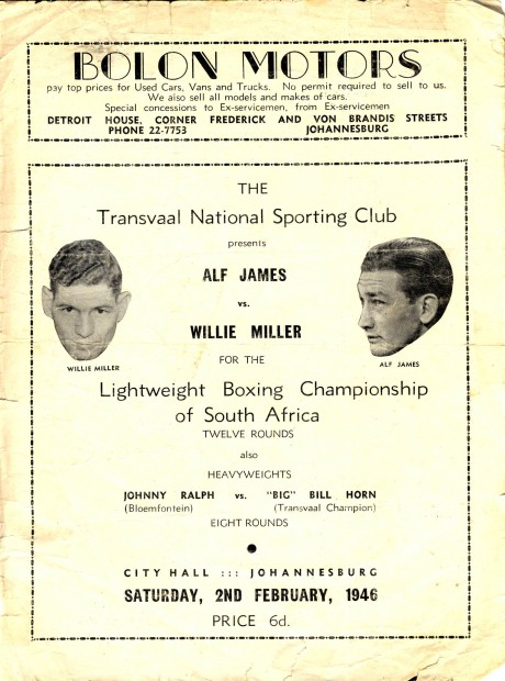 Alf James vs Willie Muller 1946