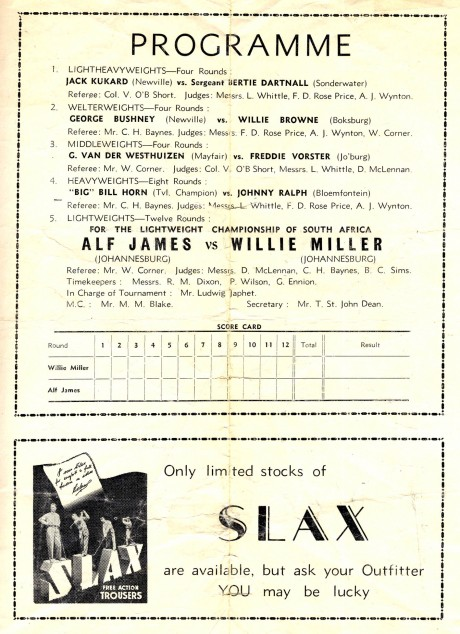 Alf James vs Willie Muller undercard 1946