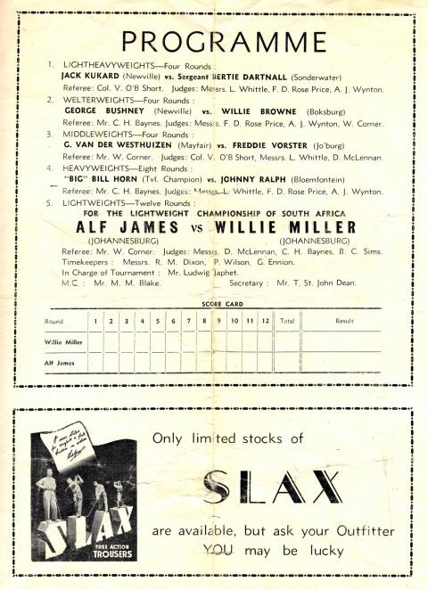 Alf James vs Willie Muller - African Ring