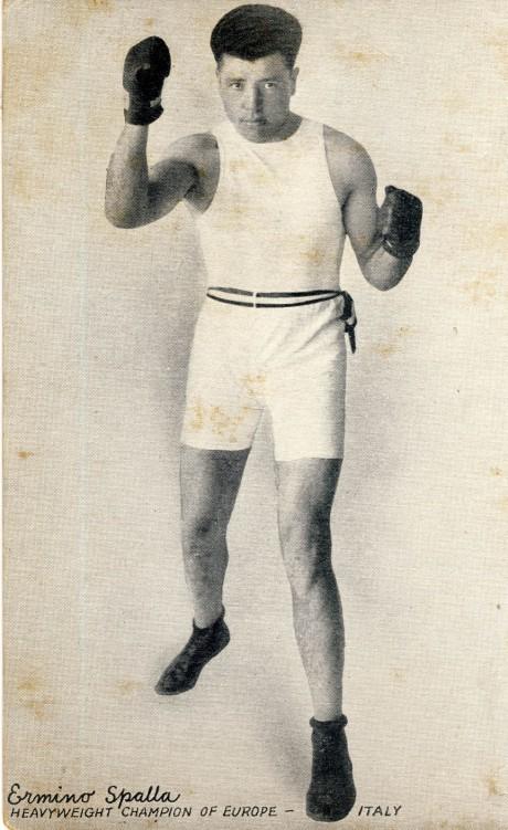 Eminio Spalla boxed 1919- 1934 post card fought Gene Tunney, Luis Firpo