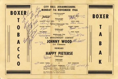 Johnny Wood vs Happy Pieterse under card all signed