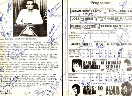 Aladin Stevens vs Jesus Romero 1983 signed