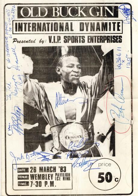 Aladin Stevens vs Jesus Romero 1983 signed Bob Arum, Lionel Hunter, Andries Steyn, Reg Haswell