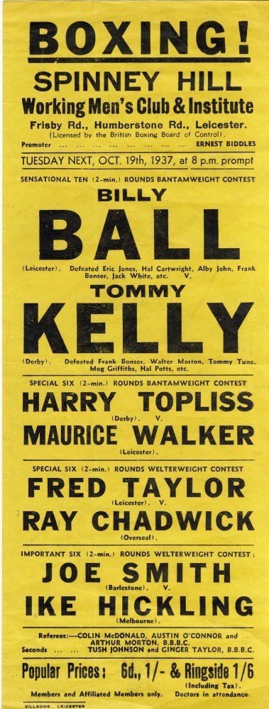 Billy Ball vs Tommy Kelly 1937 flyer