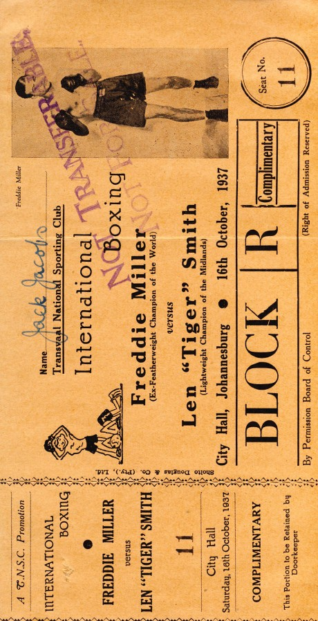 Freddie Miller vs Len 'Tiger' Smith 1937 ticket
