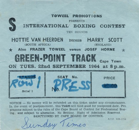 Hottie van Heerden vs Harry Scott 1964, Fraser Toweel vs Josef Horne