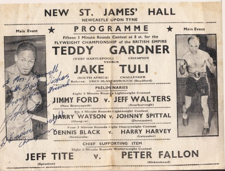 Jake Tuli vs Teddy Gardner 1952 bout card