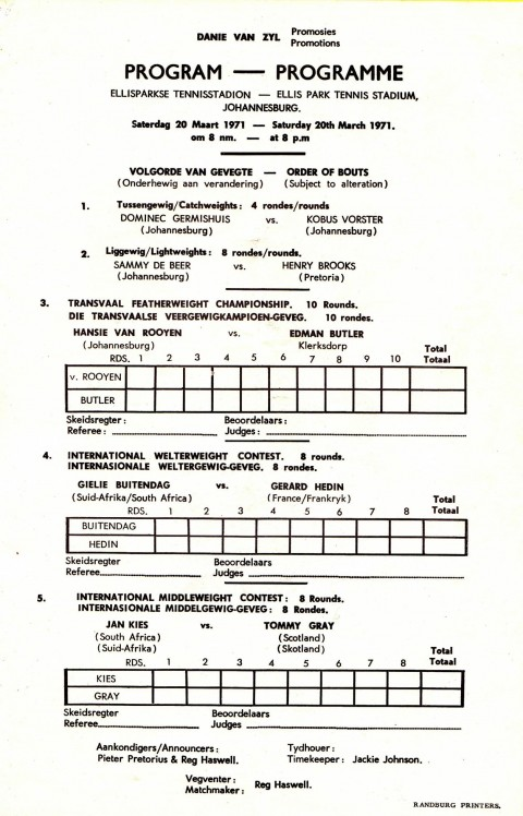 Jan Kies vs Tommy Gray - African Ring