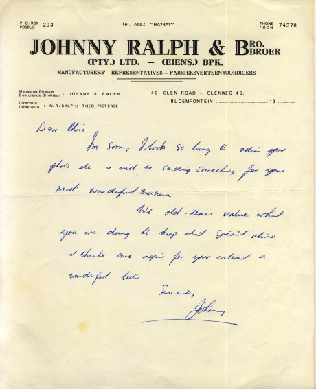 Johnny Ralph letter  to Chris