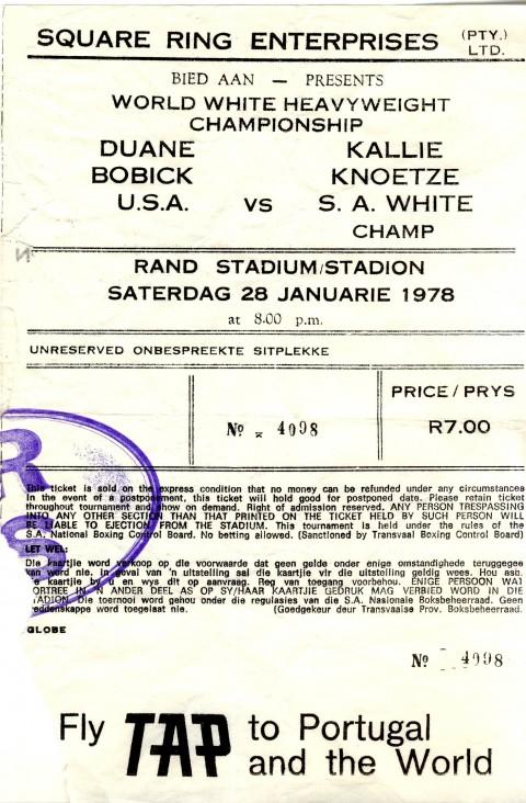 Kalie Knoetze vs Duane Bobick - African Ring