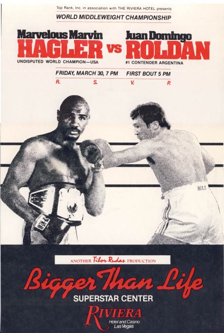 Marvelous Marvin Hagler vs Juan Domingo Roldan 30 March