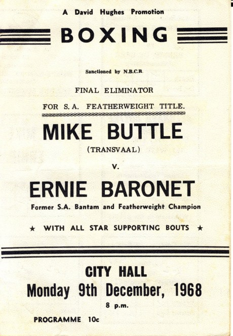 Mike Buttle vs Ernie Baronet 1968