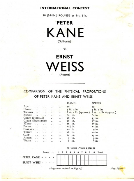 Peter Kane vs Ernest Weiss1937 tale of the tape
