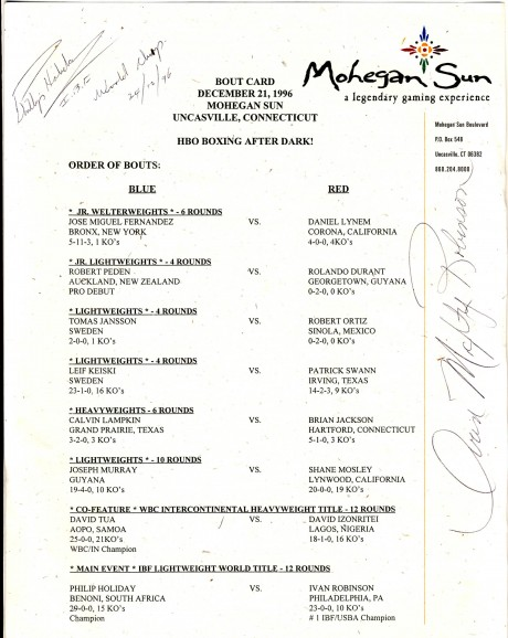 Phillip Holiday vs Ivan Robinson signed by both