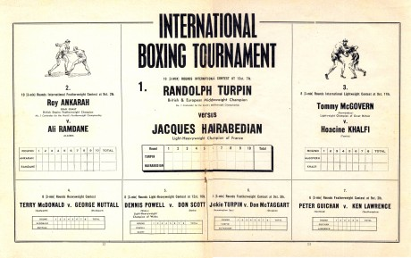 Randolph Turpin vs Jacques Hairabedian 1951 under card