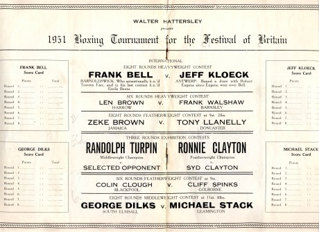 Randolph Turpin vs Ronnie Clayton 1951 under card