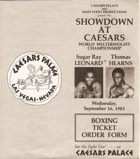 Sugar Ray Leonard vs Thomas Hearns booking ticket