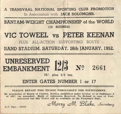 Vic Toweel vs Peter Keenan - African Ring