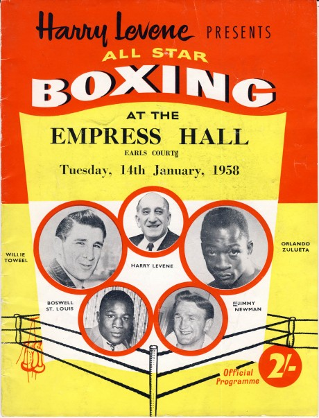 Willie Toweel vs Orlando Zulueta 1958 program