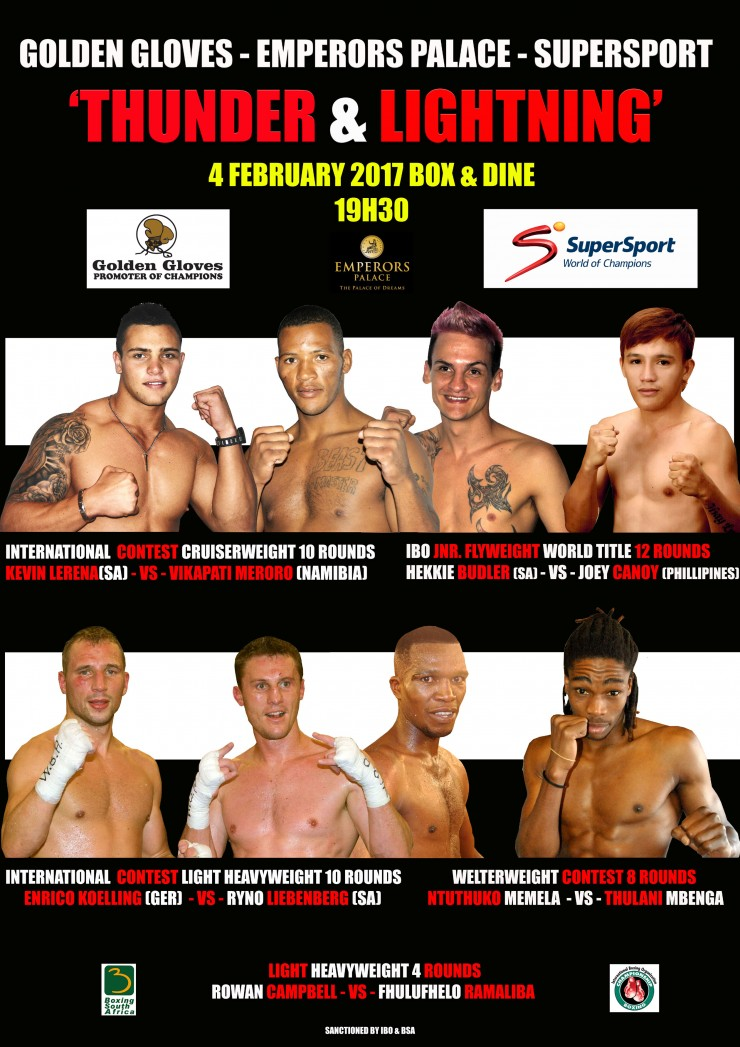 Golden Gloves, African Ring, Emperors Palace, Supersport Presents Thunder & Lightning