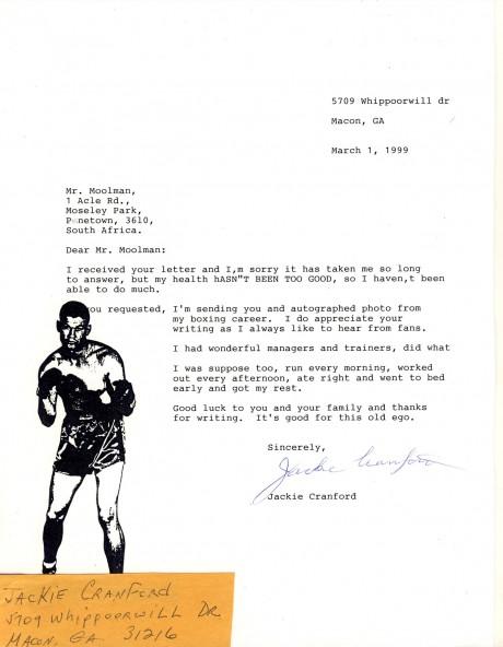 Jackie Cranford letter