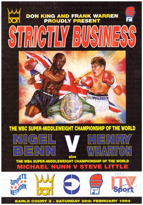 Nigel Benn vs Henry Wharton program