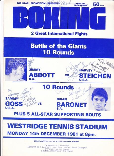 JIMMY ABBOTT VS HARVEY STEICHEN AND SAMMY GOSS VS BRIAN BARONET 14-12-1981