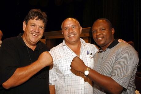 Jeff, Hardy Mileham and Dingaan Thobela